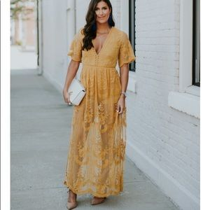 Socialite Mustard Yellow Lace Maxi Dress Romper XS